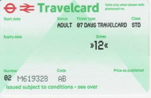 London Travelcard 7gg AD zona 1 2